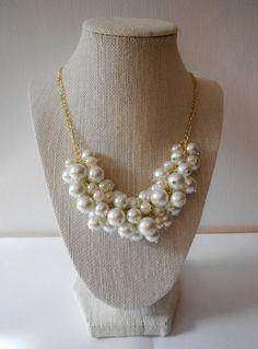 Classic White Pearl Statement Necklace//Bib by AquaGiraffe on Etsy, $29.00