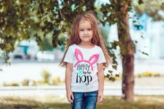Kids Decal: Hippy Hip Hip Hop Iron on Vinyl Decal - Hippy Hip Hip Hop Tee for Girls Easter Tee Easter Basket Gift