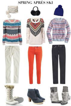 Spring Apres Ski - nice jean and jumper combo's but the heels are just wrong!
