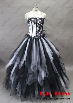 Sexy Black White Tulle Quinceanera Dresses Prom Ball Gowns Bridal Wedding Dress | eBay