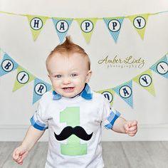 Mustache birthday shirt or onesie -- any  color scheme. $18.00, via Etsy.