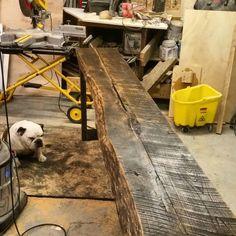 Console Table/Bar complete.  #brandreserveinc #reclaimedwood #baasmetalcraft #hank  #handcrafted #bulldog #loveit #tvdinner