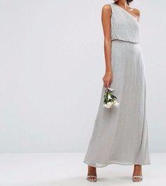 ASOS WEDDING Embellished One Shoulder Maxi Dress Grey UK 8/EU 36/US 4