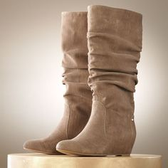 NIB~*COMFY* JENNIFER LOPEZ Tall Slouch Hidden Wedge Boots~Tan~$110~See Sizes in Boots | eBay