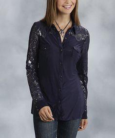Look what I found on #zulily! Roper Dark Blue & Gray Paisley Button-Up Top - Women by Roper #zulilyfinds