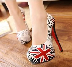 British Flag - Union Jack - Stilettos with a rounded vamp and pointed toe on these red, white and blue women's high heeled shoes.