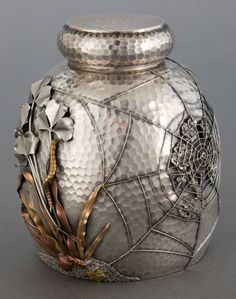 Gorham hand-hammered sterling and mixed-metal tea caddy with applied spider and web, bird on branch, and branch motif,  c1880