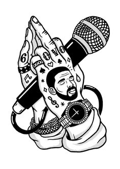 Rad art from the Drake coloring book! 4 Tattoo, Tattoo Drawings, Art Drawings, Hip Hop Tattoo, Tupac Tattoo, Tattoo Music, Arte Do Hip Hop, Hip Hop Art, Arte Dope