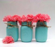 Painted Mason Jars- Chalk painted Jars- Shabby Chic Mason Jar set- Turquoise painted mason jars, Mason jars, Mason Jar gifts, Mason jar Vase