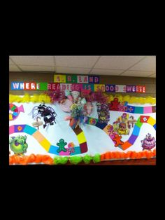 """""""Reading is so sweet! Library Themes, Library Displays, Library Ideas, Classroom Organization, Classroom Decor, Organizing, Accelerated Reader Board, Ar Bulletin Boards, 3rd Grade Writing"""