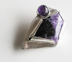 Stunning, OOAK Purple Brooch: Russian Charoite and Amethyst on Sterling Silver from DixSterling on etsy. There are earrings to match, too!