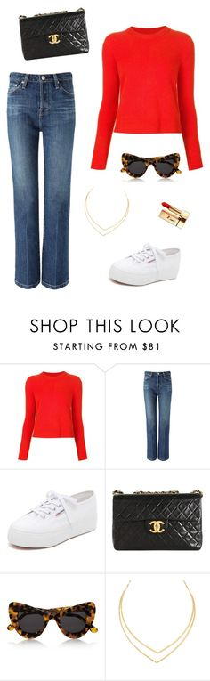 """""""in burning red"""" by mechi13 ❤ liked on Polyvore featuring rag & bone, AG Adriano Goldschmied, Superga, Chanel, Illesteva, Lana and Yves Saint Laurent"""