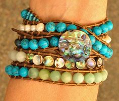Abalone, Turquoise, Pearl, & Amazonite 5 wrap beaded by SeaSideStrands