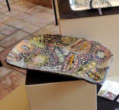 """Magic Garden"" Tray. Sgraffito in ceramic. 8x14 approx. size SOLD"