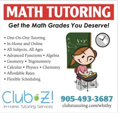 In Home Tutoring & Online Tutoring - Club Z! Tutoring of Whitby, ON Calculus, Algebra, Maths Tuition, Home Tutors, Solving Equations, Math Tutor, Trigonometry, Online Tutoring, Study Skills