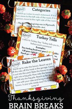 12 Free Thanksgiving Brain Breaks - no prep & no technology needed!