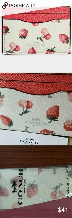"🔴🍒COACH Flat Card Case 🍒🍒 Brand New, Authentic Coach Card Case with Fruit Print.  Beautiful Fruit Print Flat Card Case 🍒  COLOR: SILVER/CHALK MULTI  🍓 Printed coated canvas 🍓 Four credit card slots  Measures 4"" (L) x 2 3/4"" (H)  BRAND NEW, WITH TAGS AND IN ORIGINAL PACKAGING.🍓  🍓PERFECT GIFT FOR ANY OCCASION. 🍓 Coach Bags Wallets"