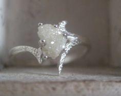 Raw rough uncut diamond- solitaire- Promise-union-engagement ring