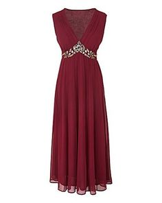 NEW Marisota Changes Boutique Berry Wine Georgette Pintuck Beaded Dress RRP £90 Evening Dresses Plus Size, Chiffon Evening Dresses, Prom Dresses, Formal Dresses, Beaded Chiffon, Silver Beads, Dress Me Up, Party Dress, Berry