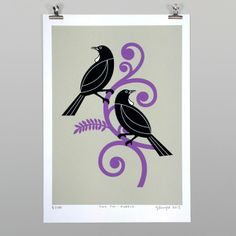 Check out the deal on Two Tui by Greg Straight at New Zealand Fine Prints Maori Symbols, Maori Patterns, Zealand Tattoo, Maori Designs, New Zealand Art, Nz Art, Maori Art, Kiwiana, Bird Art