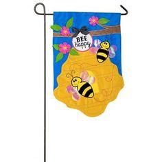 Evergreen Flag Bee Happy Garden Flag - 168640BL