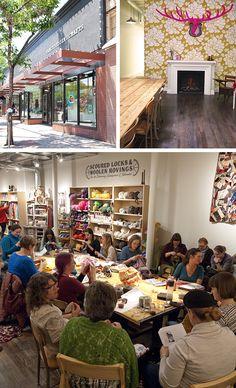 Slow Fashion Citizens: Jaime Jennings and Amber Corcoran - Fringe Association Tiger Crafts, Community Space, Brick And Mortar, Yarn Shop, Knitting Ideas, Slow Fashion, Citizen, Free Pattern, Amber