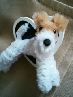 - Wire Fox Terrier Lapel Pin made from pipe cleaners