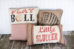 Play Ball Baseball Decorative Pillow Cover. $48.00, via Etsy. - I think I could do something similar for my little bball player