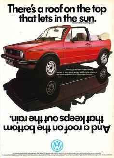 VW Golf Convertible advert by retromotoring Volkswagen Golf Mk1, Mk1 Golf, Golf 1 Cabriolet, Cabrio Vw, Ducati, Lamborghini, Custom Vw Bug, Audi, Beetle Convertible