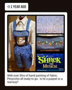 Last year at this time I was working on Shrek the Musical. This was one of my favorite characters and costumes. I ended up hand painting… Shrek, Puppets, Musicals, Presents, Characters, Hand Painted, Costumes, My Favorite Things, Fabric