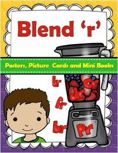 Consonant Blends: Here's a bright and colorful 'r' blends package for your literacy work areas.  These 'r' blend posters, picture cards and mini-books were created by me to add pizzazz to any literacy area. This set contains the following blends:- br cr dr fr gr pr tr There are 85 picture 'n word cards 7 posters 8 mini books for each blend ( two books per print).