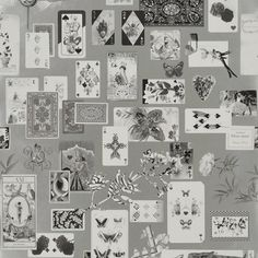 Sale Maison de Jeu Wallpaper A luxurious wallpaper adorned with black and white antique playing cards set against a metallic silver ground. Maison de Jeu means 'gaming house' or 'house of cards'.