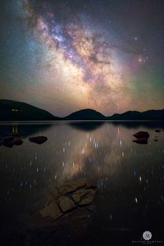 Milky Way over Eagle Lake, Maine - Stars reflecting in the largest fresh water lake in Maine's ruggedly beautiful Acadia National Park- Photo by Manish Martini Best Vacation Destinations, Best Vacations, Vacation Trips, Vacation Travel, Family Vacations, Eagle Lake Maine, Acadia National Park, National Parks, Art In The Park