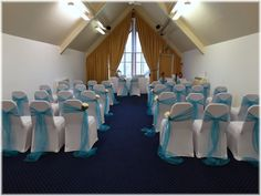 Wedding ceremony set up with pale blue organza sashes & peony detail at aisle seat.  Want your own quote? Then email me with your ideas! hello@beckiemelvinevents.co.uk  More styles can be seen at www.beckiemelvinevents.co.uk