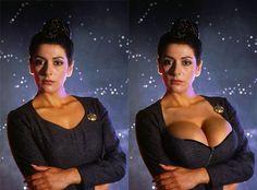 Hummmm...Marina Sirtis Star Terk, Film Star Trek, Deanna Troi, Marina Sirtis, Star Trek Characters, Star Trek Universe, Star Trek Ships, Star Trek Enterprise, Portraits