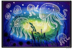 Love this! Could have student use Analogous colors of paint then oil pastels to create the sea creatures