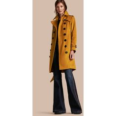 Burberry Sandringham Fit Cashmere Trench Coat ($3,335) ❤ liked on Polyvore featuring outerwear, coats, slim trench coat, belted coat, pink cashmere coat, cashmere trench coat and checkered coat