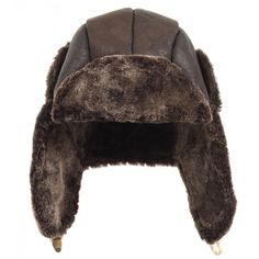 Paul Smith Jeans Dark Brown Sheepskin Trapper Hat ($225) ❤ liked on Polyvore featuring men's fashion, men's accessories and men's hats