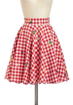 Fruitful Endeavors Skirt by Nishe - International Designer, Mid-length, Red, Yellow, Green, Purple, Checkered / Gingham, Embroidery, Daytime Party, Rockabilly, Pinup, Fruits, Fit & Flare
