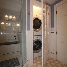 Love the idea of a stackable washer and dryer in the master bathroom in addition to a regular laundry room. Love the idea of a stackable washer and dryer in the master bathroom in addition to a regular laundry room. Laundry Bathroom Combo, Laundry Closet, Laundry Room Storage, Laundry Room Design, Small Bathroom, Small Laundry, Hidden Laundry, Laundry Rooms, Mud Rooms