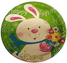"""Amazon.com: Custom & Unique {9 Inch} 8 Count Multi-Pack Set of Medium Size Round Circle Disposable Paper Plates w/ Flowers & Cute Happy Easter Bunny Party """"Green, White, Blue, Black, Yellow & Pink Colored"""": Kitchen & Dining"""