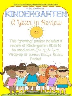 """This """"growing"""" packet includes a review of Kindergarten Skills to be used as an End of the Year Wrap-up or Summer Bridge Review Packet"""