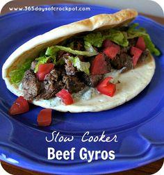 Crock Pot Beef Gyros with Tzatziki Sauce #crockpotrecipe #easydinner