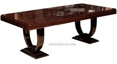 French Art Deco rectangular dining table - contemporary - Dining Tables - New York - ERA Interiors Marble Top Dining Table, Custom Dining Tables, Contemporary Dining Table, Walnut Dining Table, Dining Room Art, Dining Room Furniture Sets, Art Deco Furniture, Shabby Chic Dining, Ethnic Decor