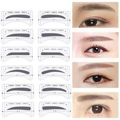 8 Pairs/pack Reusable Eyebrow Stencils Template Stickers Make Up Tools Drawing Card Eyebrow Template Tool Forma Sopracciglia - Eyebrowstencils Online Brow Stencils, Stencil Stickers, Eyebrow Stencil, Diy Stickers, Eyebrow Template, Types Of Eyebrows, Eyebrow Styles, Stencils Online, Plastic Items