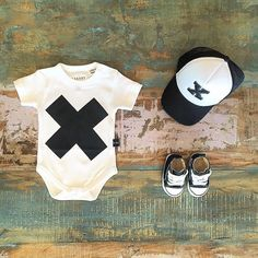 BABY • Huxbaby organic cotton onesie, Converse Baby Chucks & Billie The Kid trucker hat. Shop these styles at Tiny Style in Noosa & online •  www.tinystyle.com.au
