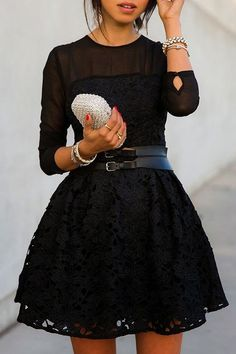 See-Through Solid Color Lace Long Sleeve Dress