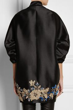 Biyan|Hyuana embellished shantung coat - back