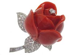Cartier Coral and Diamond Rose Flower Brooch in 18K