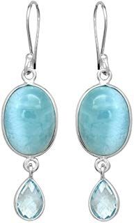 YoTreasure Blue Tanzanite Solid 925 Sterling Silver Dangle Earrings